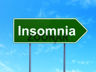 Healthcare concept: Insomnia on road sign background