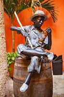 Havana, Cuba - December 12, 2016: Rom themed statue in the inner courtyard of the Museo del Ron (Rum Museum) in Havana
