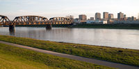 Lonely Sunday Morning Msd River Downtown City Skyline Dayton Ohio