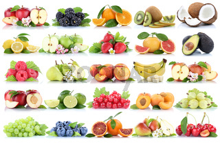 Früchte Frucht Obst Collage Apfel Orange Banane Orangen Erdbeere Äpfel Birne Trauben Kirschen biologisch Freisteller freigestellt isoliert