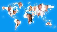 Weltkarte mit Ärzten als Netzwerk Konzept