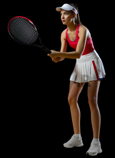 Young woman tennis player isolated