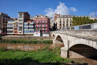 Pont De Pedra On Onyar River In Girona