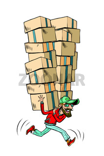 courier with boxes fast delivery of cargo