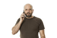 a bearded man at the phone
