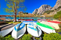 Town of Omis boats on Cetina river view