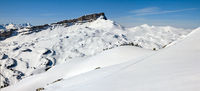 Panorama of snow mountains winter landscape on sunny day. Ifen, Bavaria.