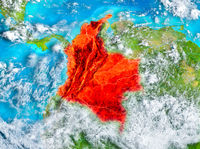 Colombia in red on Earth