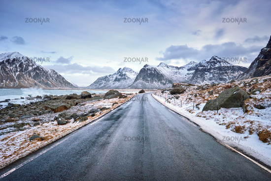 Road in Norway on Lofoten islands