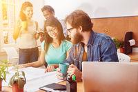 Startup Projekt Team im Coworking Space