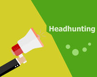 flat design business concept. Headhunting. Digital marketing business man holding megaphone for website and promotion banners.