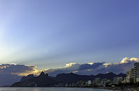Cloudy summer sunset at Ipanema beach
