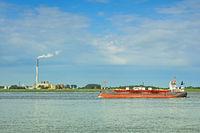 Frachtschiff auf der Weser vor Nordenham