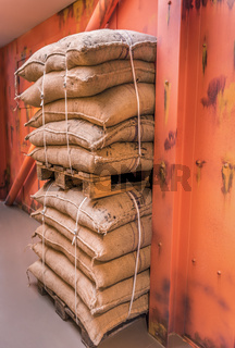 Pallets of merchandise bags stacked in storage