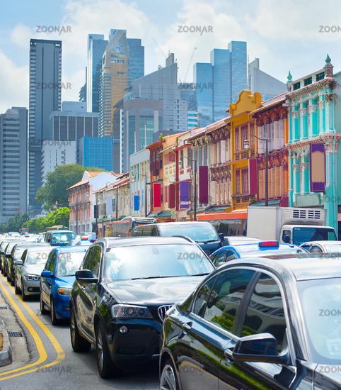Singapore traffic jam in Chinatown