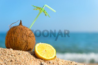 Tropical coconut and fruit at beach
