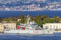 Italian Warship Anchored At Messina Italy