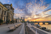 Dresden sunset city skyline at Elbe River and Augustus Bridge, Dresden, Germany