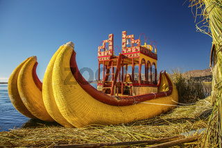 Reed boat on Floating Island of Uros at Lake Titicaca in Peru and Bolivia