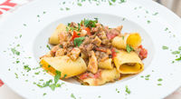 Italian Paccheri pasta  with Swordfish