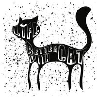Typography Design of Print with Cat Silhouette
