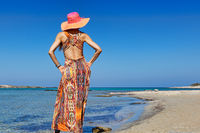 A beautiful woman at the beach Elafonisos of Creta
