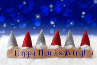 Gnomes, Blue Background, Bokeh, Stars, Text Happy Thanksgiving