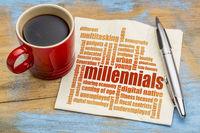 millennials word cloud on napkin