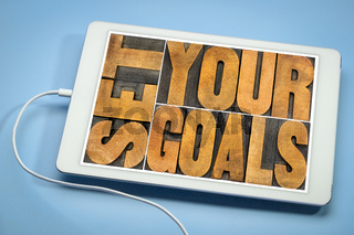 set your goals banner on a tablet