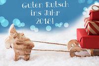 Reindeer, Light Blue Background, Guten Rutsch 2018 Means New Year