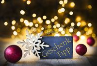 Christmas Background, Lights, Geschenk Tipp Means Gift Tip