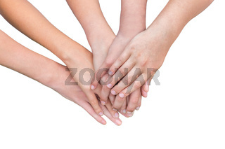 Arms of girls hands on each other
