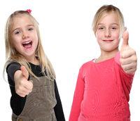 Kinder Mädchen lachen glücklich Daumen hoch Freisteller freigestellt isoliert