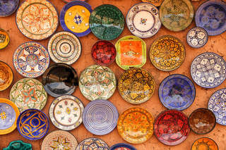 Colourful plates on sale