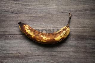 overrripe banana with brown skin