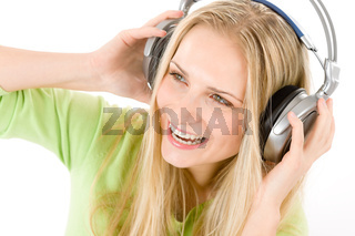 Cheerful young woman with headphones