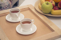 Two cups of tea on tray
