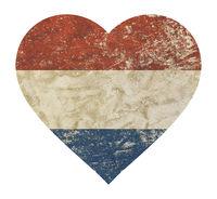 Heart shaped grunge vintage flag of Netherlands
