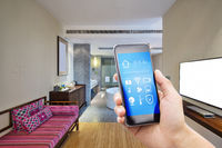smart phone with smart home with modern bathroom