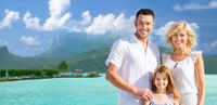 happy family over bora bora background