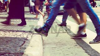 Steping in the sidewalk