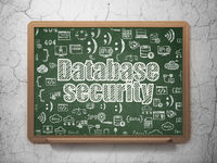 Software concept: Database Security on School board background