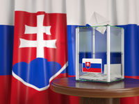 Ballot box with flag of Slovakia and voting papers. Slovak presidential or parliamentary election .