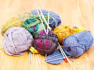 hand knitting instruments and wool yarns
