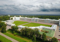 Aerial view on Katherines Palace hall in Tsarskoe Selo (Pushkin), Russia