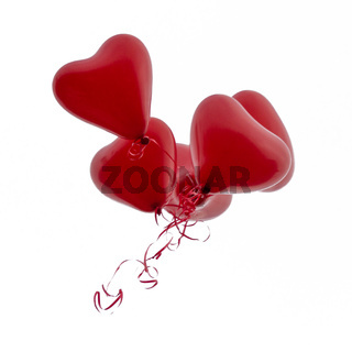 Heart balloons in a bunch  isolated