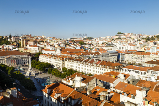 Lissabon mit Rossio, Portugal, Lisbon with Rossio Square, Portugal