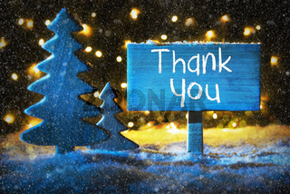 Blue Christmas Tree, Text Thank You, Snowflakes