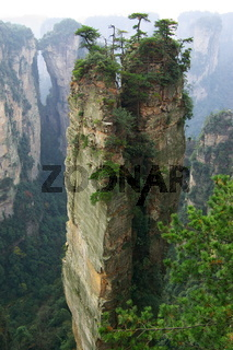 Steep mountain in Zhangjiajie National Forest Park located in Hunan Province