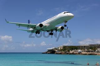 Copa Airlines Embraer ERJ190 Flugzeug Landung Flughafen St. Maarten